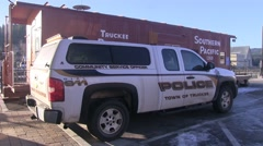 Truckee Police Vehicle at the Union Pacific Rail Station Stock Footage