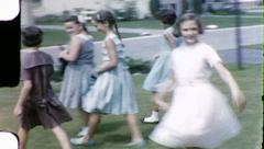 Suburban Girls Friends 1960s Vintage Film Old Home Movie 8115 Stock Footage