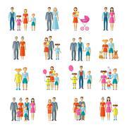 Family Icons Flat Stock Illustration
