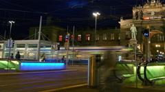 Traffic and entrance of subway from the main train station of the Zurich Stock Footage