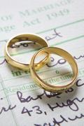 Gold wedding rings on marriage certificate Stock Photos