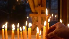 Candles with Cross Stock Footage