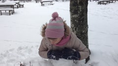 Girls playing on the snow - stock footage