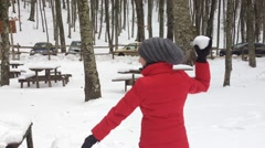 Girls playing on the snow Stock Footage