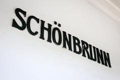 Stock Photo of the written schonbrunn in a subway station