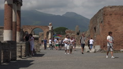 Naples Italy Pompeii tourists Mnt Vesuvius fast 4K 057 Stock Footage
