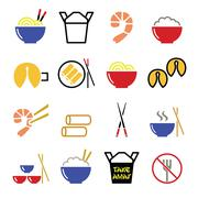 Chinese take away food icons - pasta, rice, spring rolls, fortune cookies Stock Illustration