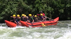 Rafting in rough waters the White Nile, Uganda (children) Stock Footage