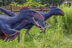 realistic model of feathered dinosaurs - stock photo