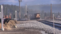 Union Pacific Train Coming into Truckee Stock Footage