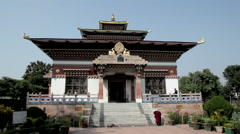 Bhutanese Temple in Bodhgaya Stock Footage