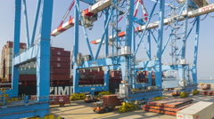 Ship Loading and unloading in Haifa Port Stock Footage