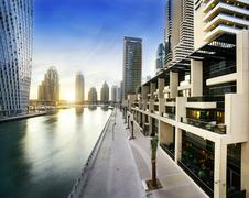 Cityscape of dubai at night, united arab emirates Stock Photos