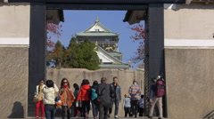 Sakura Gate at Osaka Castle in Japan Stock Footage