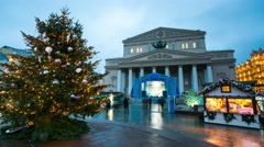 4k timelapse, Bolshoi Theater Square decorated for Christmas/New Year. Stock Footage