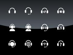 Headphones icons on black background. Stock Illustration