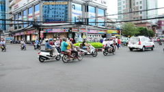 Time Lapse of Traffic in Pham Ngu Lao - Ho Chi Minh City Vietnam Stock Footage