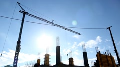 Crane Above Construction Site Structure Building Pillars Blue Sunny Sky Stock Footage