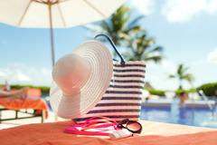 Close up of summer accessories Stock Photos