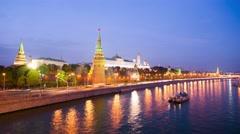 4k timelapse of Moscow Kremlin embankment at night. Stock Footage