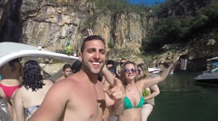 Friends having fun, laughing and dancing with Drinks in Brazil Stock Footage