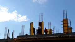 Workers On The Construction Site HD Structure Building Pillars Stock Footage