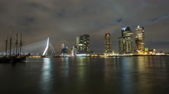 Timelapse Erasmusbrug Rotterdam at Night 4k Stock Footage