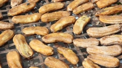 Bananas were dried in the sun Stock Footage