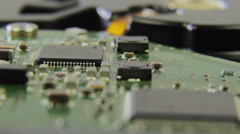 Close up view on computer chip, mainboard, HDD - stock footage