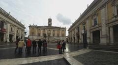 Piazza del Campidoglio, rainy day Stock Footage