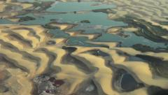 Aerial of Namibia Desert Oasis, big group of flamingos in water - stock footage