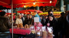 Stock Video Footage of Borough Market, Southwark, London, United Kingdom