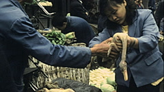 China 1987: woman buying a duck at the market Stock Footage