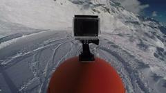 GoPro on helmet, skiers view skiing Stock Footage