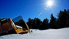 Old Snowmobile - stock photo