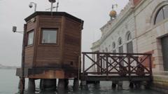 tide measurement gauge (gage) in venice, italy - stock footage