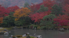 Clouds over Fall Colors at Tenryuji Temple in Kyoto, Japan Stock Footage