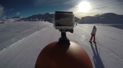 Filming GoPro on ski helmet while skiing Stock Footage