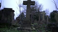 Cemetery sliding pan timelapse Stock Footage