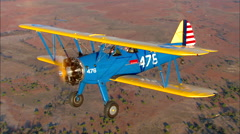 Boeing PT 17 Stearman Air to Air Stock Footage