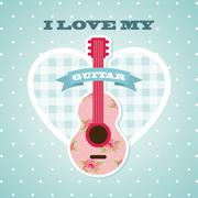 Love my guitar design, vector illustration eps10 graphic Stock Illustration