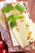 Crisp bread and cheese Stock Photos