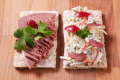 crisp bread with blue cheese and pate - stock photo