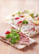 Crispbread with various toppings Stock Photos