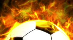 Fiery Soccer Ball Background Stock Footage