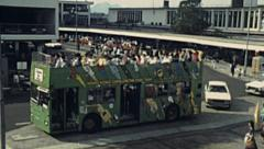 China 1987: double deck tourist bus Stock Footage