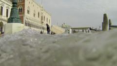 High tide flooding in Venice, Italy, slow motion waves Stock Footage