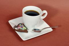 Cup of coffee and gingerbread cookies. Stock Photos