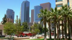 4K, UHD, Fire trucks emergency response in Los Angeles Downtown, BlackMagic Stock Footage