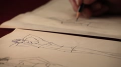 Stock Video Footage of Fashion design, dressmaking, drawing a pattern